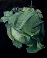 "Cotan's Cabbage, acrylic on canvas, 10"" x 10"", 2010"