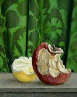 "The Ambassadors' Apple, acrylic on canvas, 8"" x 8"", 2010 (sold)"
