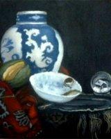 "Mr Kalf's Snowglobe, acrylic on canvas, 8"" x 8"", 3005"