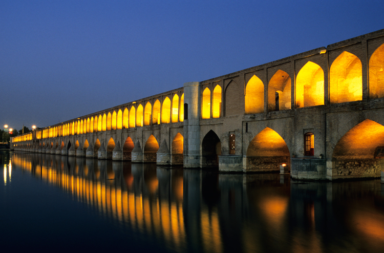 Isfahan's Si-o-Seh Bridge, replete with its 33 arches. Photograph © Paul Bernhardt.