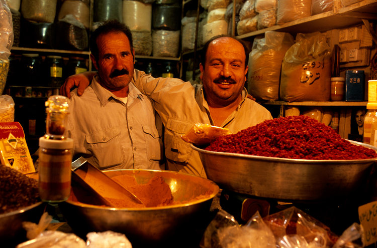 Spice merchants in the Bazar-é Bozorg bazaar. Photograph © Paul Bernhardt.