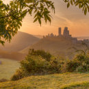 Golden Light on a Misty Corfe Castle