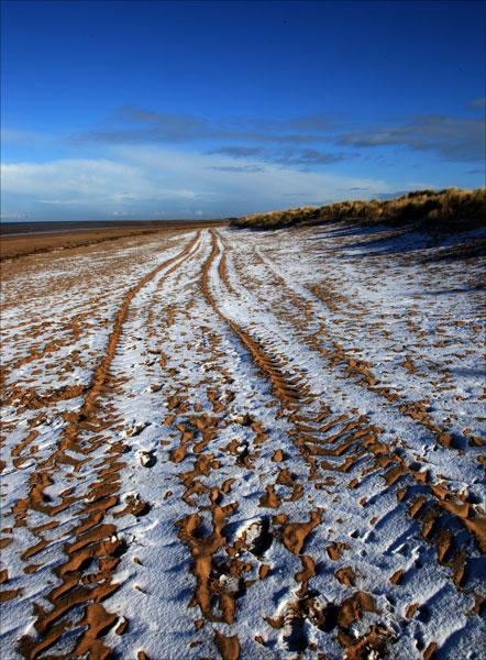 Snowy Hunstanton Beach