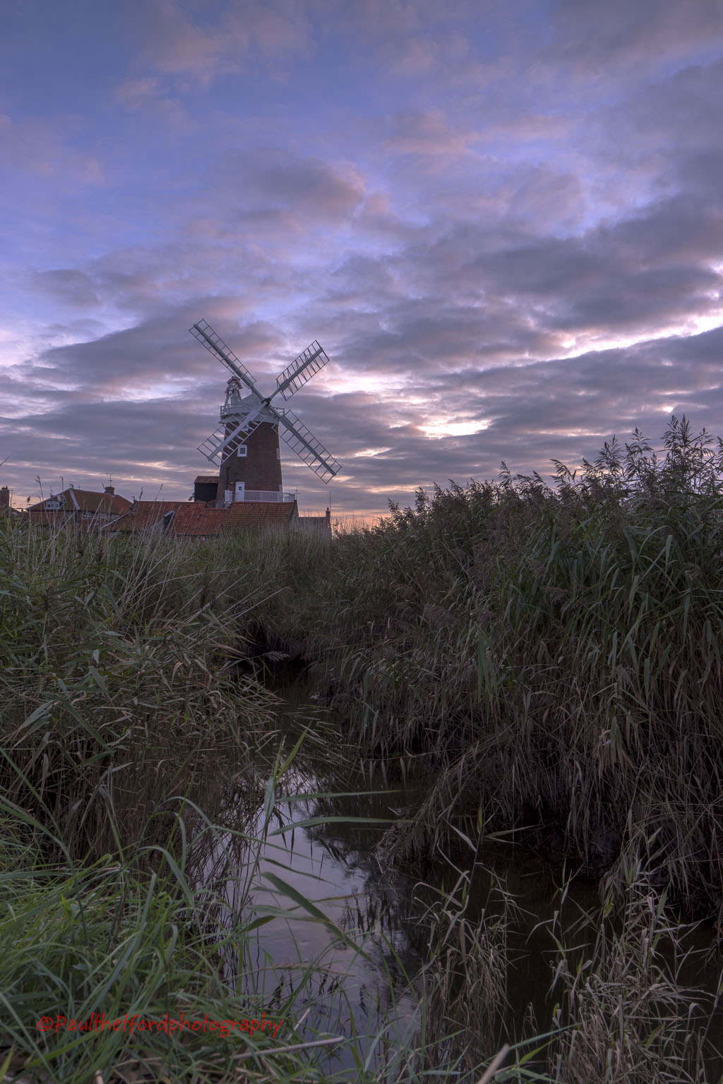 Evening Skies over Cley Mill