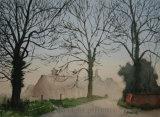 Misty day, Lound Farm, Norfolk.- Watercolour.