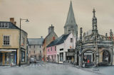 Malmesbury Town Centre. -Watercolour. Sold.