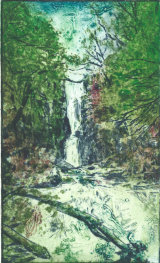 Catrigg  force North Yorkshire 4 plate dry-point including some acrylic gesso and gel on one plate.