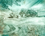 Hill  farm above Hathersage Maybe called Gallows farm  Dry point with colour