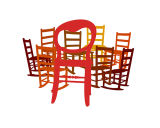Nine Chairs Red to Brown