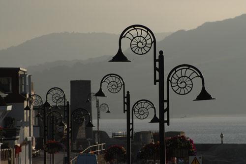 Ammonite style lights, Lyme Regis sea front