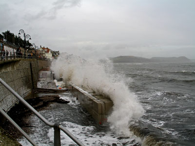 Storm on the new sea wall Lyme Regis
