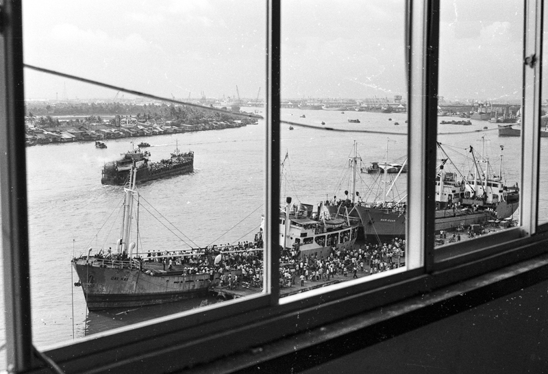 Ships preparing to leave on the Saigon River