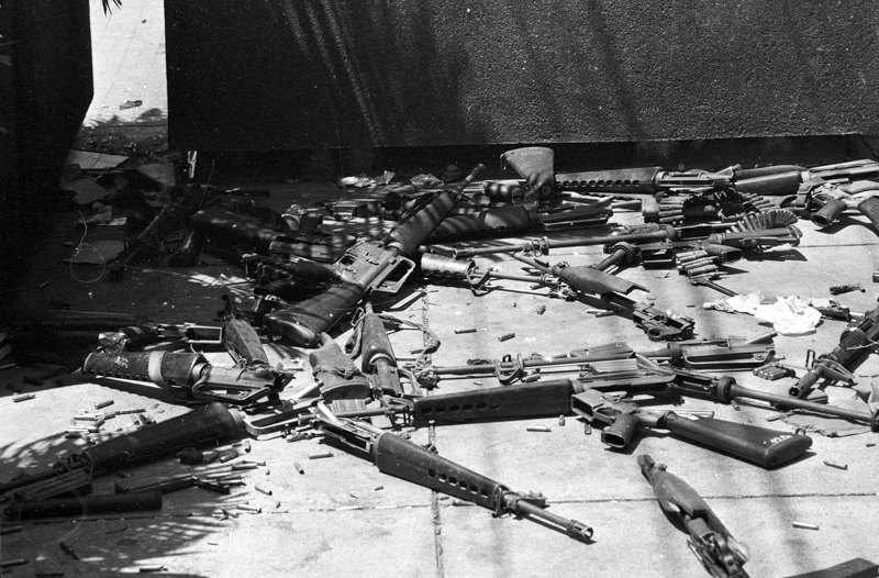 Weapons discarded in the street by the South Vietnamese army