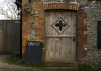 Organic doorway at Kingcombe in Dorset