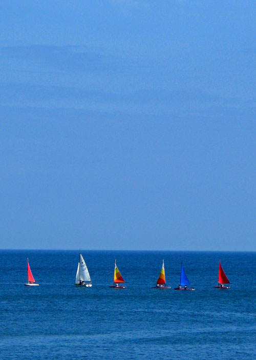 Sailing boats on a blue sea