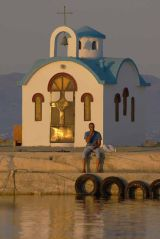 Relaxing fisherman, Seafarers' church, Kato Galatas, Crete