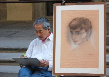 Artist near the Uffizi, Florence.