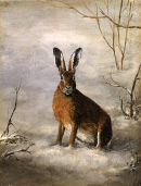 A hard winter for the poor old Hare.Oil on canvas