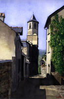 St Jean Eglise in Najac SW France.Watercolour