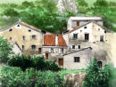 Boulc, mountain village in the Drome south east France. Mixed Media