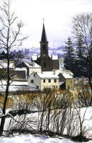 Snow fall over French village, Les MazieresWatercolour