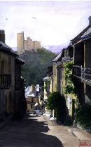 The historic village of Najac in the Aveyron department of France.Watercolour