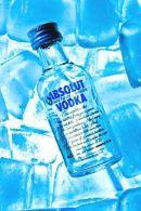 Vodka on blue ice