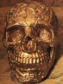 Human Replica skull, Celtic, gold mirror paint.