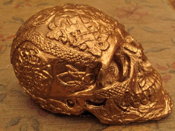 Human Replica skull, Celtic, gold mirror paint. Etsy, PJCreationCraft