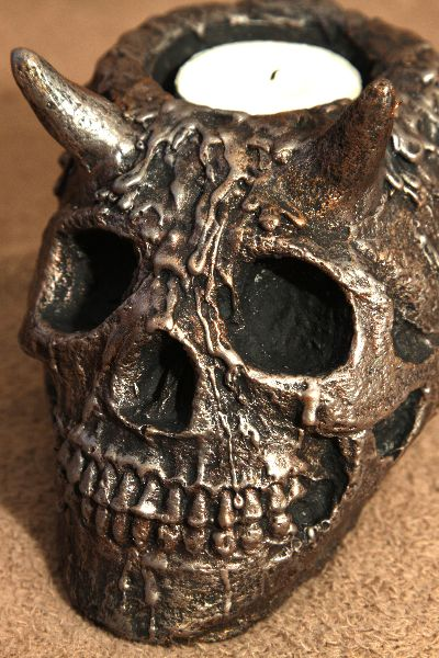 Hornes skull, Tea Candle,  Etsy PJCreationCraft