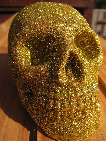 Replica skull, glitter covered.