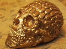 Human Replica skull, diamond design, gold mirror paint, Etsy PJCreationCraft