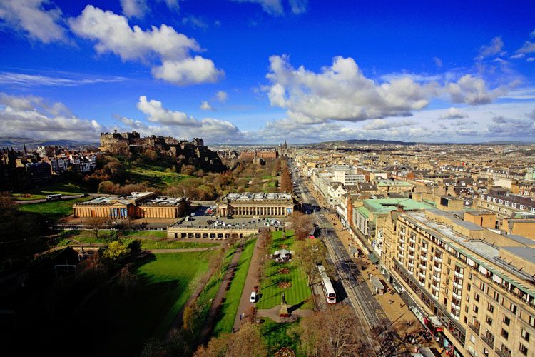 Princes Street from Scots Monument