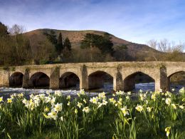 Spring time, Usk Bridge and Blorenge,Abergavenny.