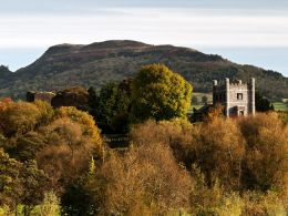 Abergavenny Castle and the Skirrid.