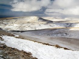 Fan Fawr and the Black Mountain Range in winter.