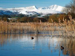Llangorse Lake, Pen Y Fan and Cribyn.