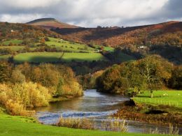 Autumn, River Usk and Sugar Loaf.