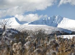 Snow covered Pen y Fan and Cribyn.