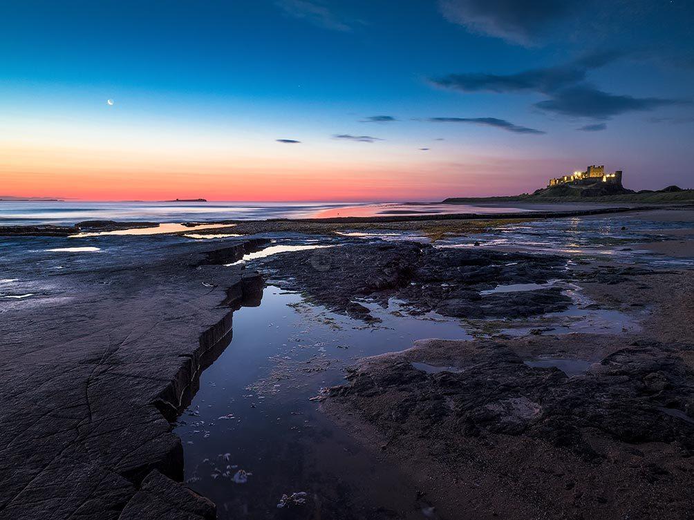 Bamburgh Moonset
