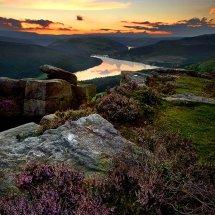 Bamford Edge Sunset Over Ladybower