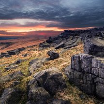 Winter Sunset-Castleshaw Moor