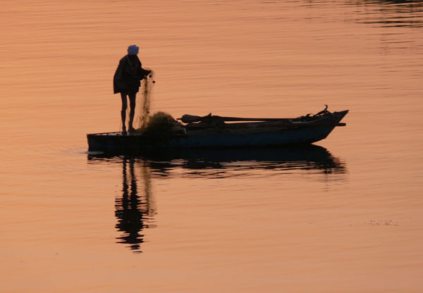 Fishing at sunrise on the Nile