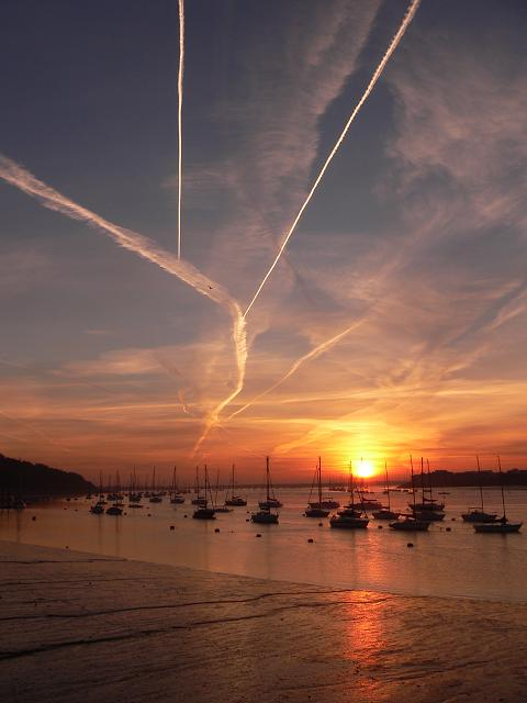Sunrise and Contrails (2)