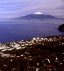 Mount Vesuvius across Naples Bay, Italy.