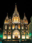 Cathedral at night, Barcelona, Spain.