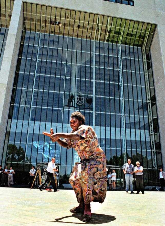 Aboriginal elder celebrates Wik High Court victory, Canberra.