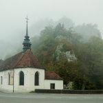 Foggy morning at Sankt Wolfgang chapel