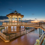 Night falls at the Bandstand