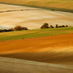 Ploughed fields on the South Downs in Sussex